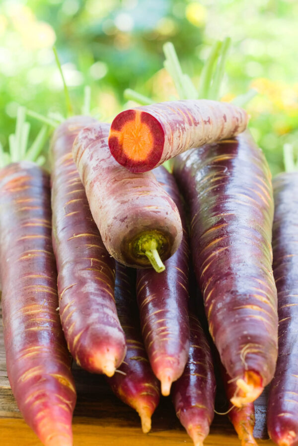 A stack of Cosmic Purple Carrots showing its purple skin and orange centers