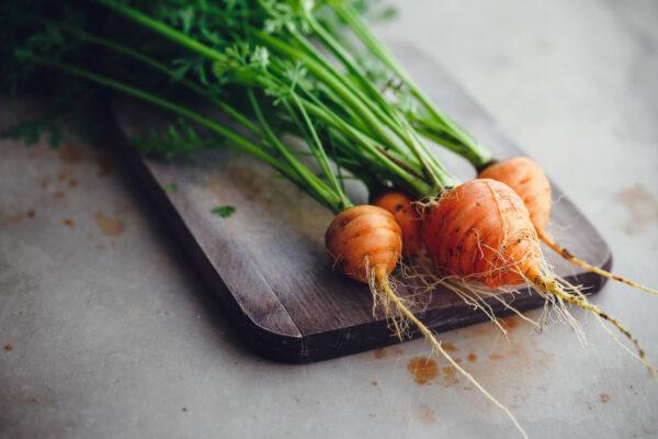 Paris Market Carrots on a rustic chopping board