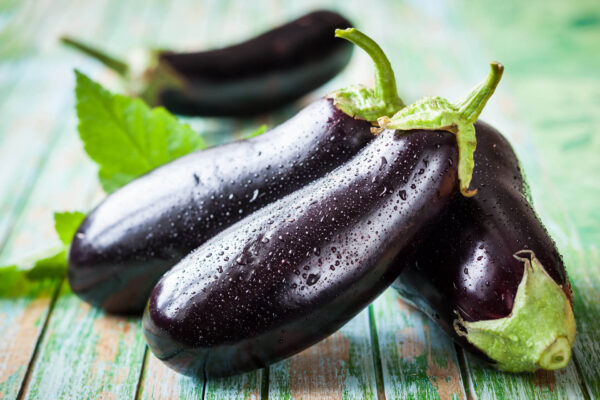 Florida Market eggplants on a table