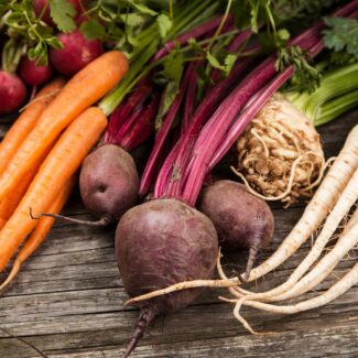 Assortment of root vegetables on a table