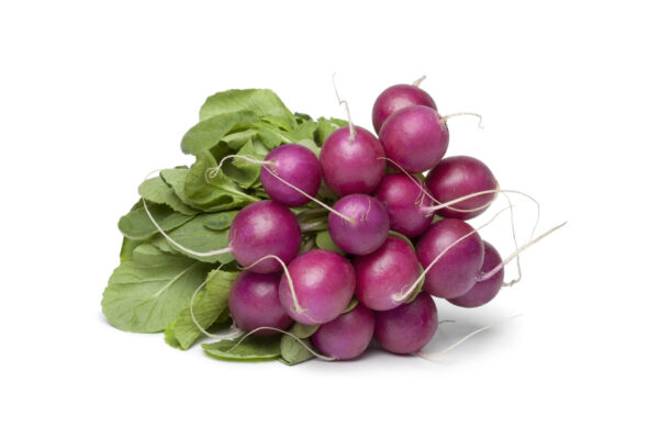A bunch of Purple Plum radish on a white background