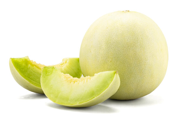 Slices of Honey Dew Rockmelon sitting next to a whole fruit on a white background