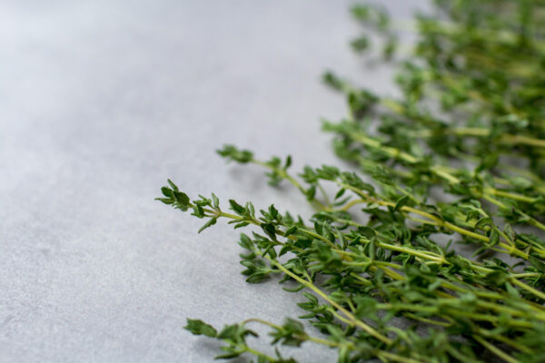 Winter Thyme picked and placed on a kitchen bench
