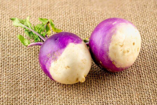 Two Turnips on a hessian bag