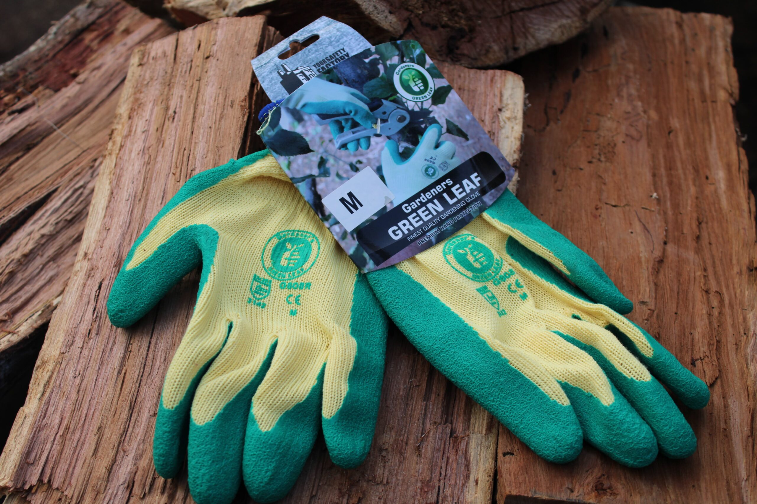 Gloves on a wooden stack
