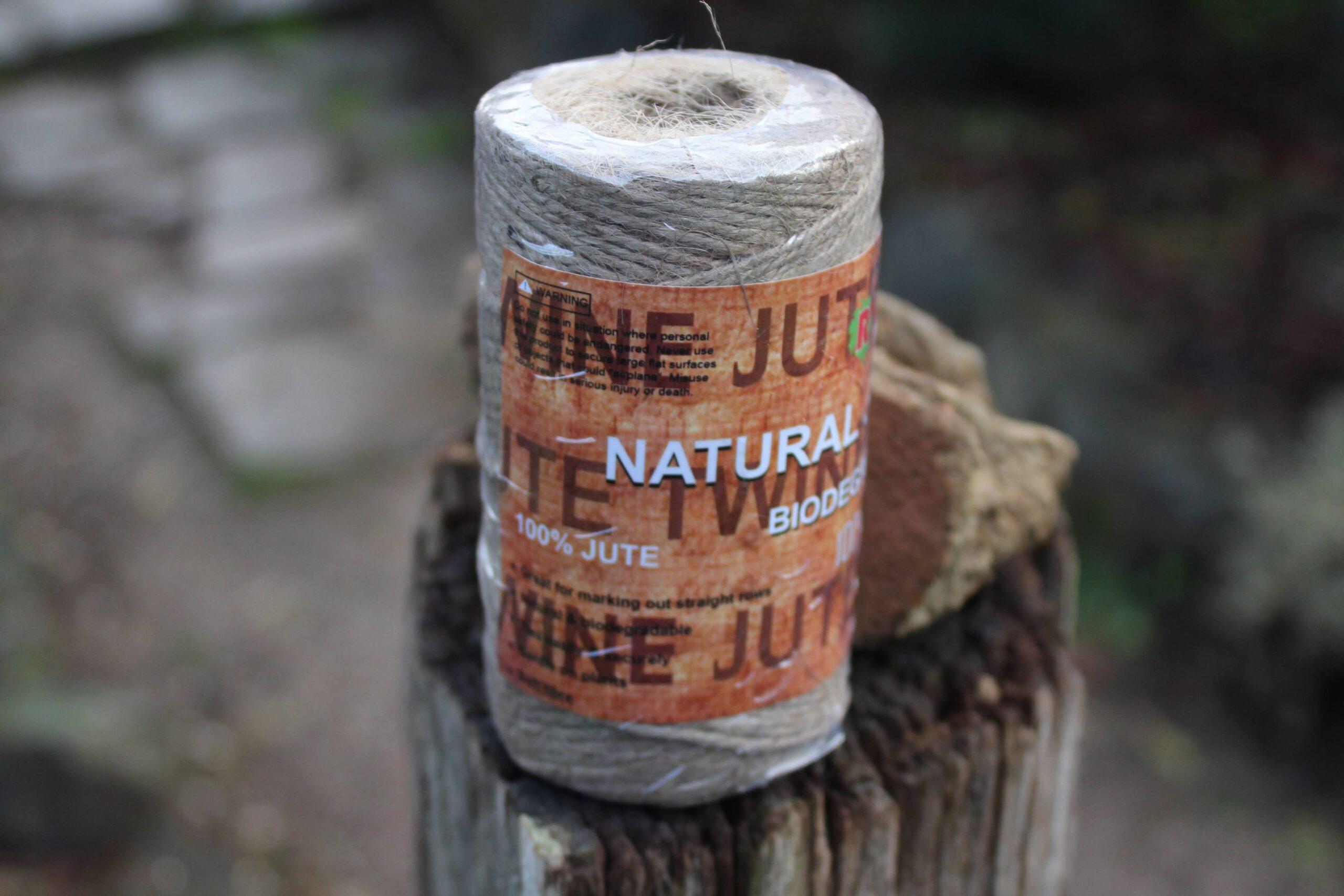 Jute twine on a log