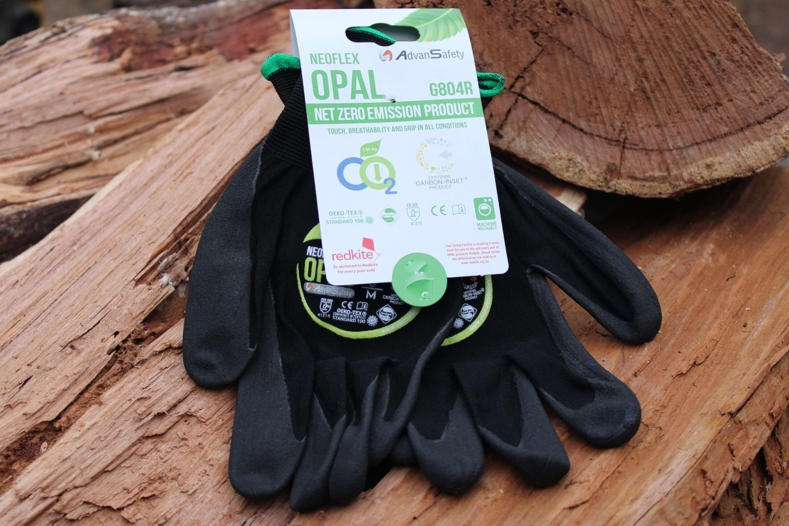 Neoflex gloves small on a wood stack