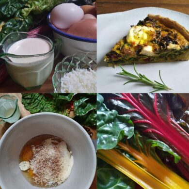 Quiche ingredients in four different pictures