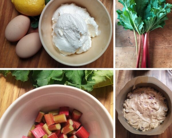 four pictures of ingredients for Rhubarb cake